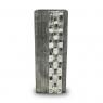 Vaso Decorativo Nakine Alumínio Prata Retangular  45X17X8
