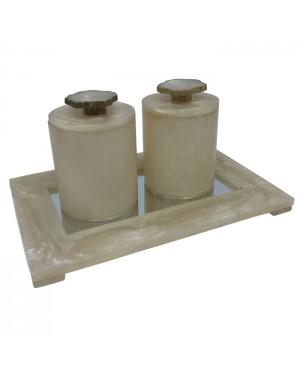 Conjunto 3 peças Potiche com bandeja em resina espelhada