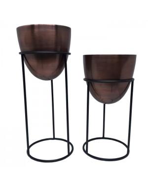 Conjunto Vasos Marrom em Latão com Suporte em Ferro