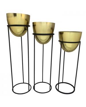 Trio de Vasos Dourados em Latão com suporte em Ferro