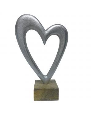 Estatueta Decorativa em Alumínio Coração 24,5cm