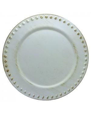Sousplat Redondo Conwy Branco Com Marrom 35cm