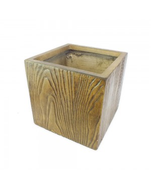 Vaso Decorativo Composto Mineral Amadeirado 24x24cm - 574