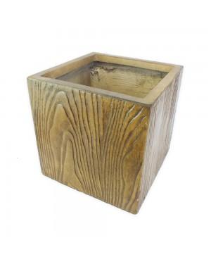 Vaso Decorativo Composto Mineral,cor Amadeirado 30X30X30cm