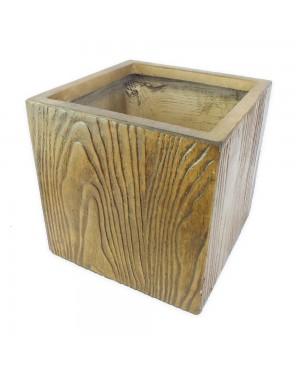 Vaso Decorativo Composto Mineral,cor Amadeirado 40X40X40cm