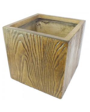 Vaso Decorativo Composto Mineral,cor Amadeirado 50X50X50cm