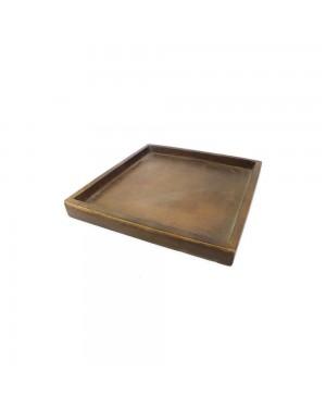 Prato Quadrado para Vaso Composto de Mineral, cor Amadeirado 32,5x32,5x4cm