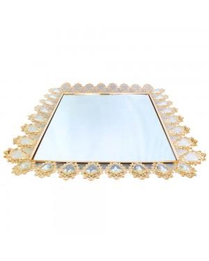 Bandeja Quadrada Dourada Cristal K9 55,5x55,5x6cm