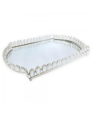 Bandeja Retangular cor Prata Cristal K9 54x37x6cm