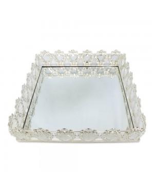 Bandeja Quadrada Prata Cristal K9 38x10cm - 726