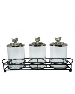 Organizador Triplo Vidro e Aluminio 49,5x23x14cm