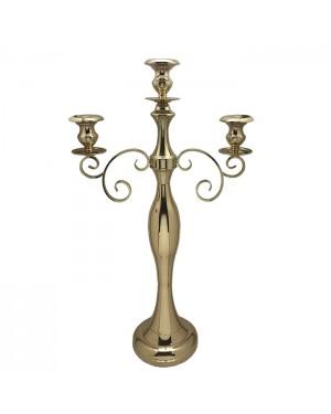 Candelabro 3 velas niquelado Dourado 53x23x93cm - 912