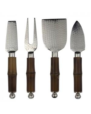 Conjunto De Facas Para Queijo Em Inox Cabo de Bambu - 4 Peças