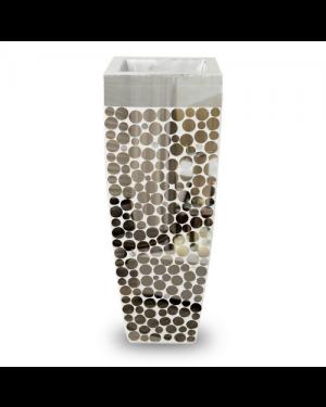 Vaso Decorativo Resina Mosaico Espelhos  91X34X34
