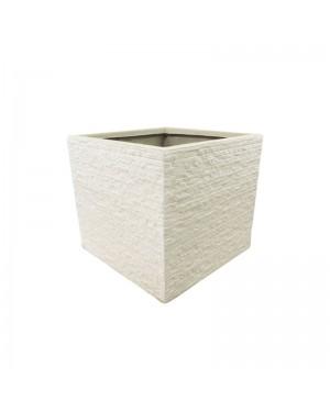 Vaso Decorativo Nakine de Composto Mineral Branco Quad. 27X30X30