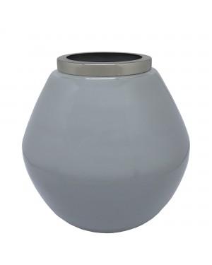 Vaso Decorativo em Ferro Cinza 19x19,5cm