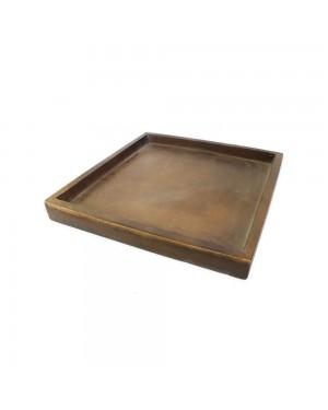 Prato Quadrado para Vaso Composto de Mineral, cor Amadeirado 38,5x38,5x4cm