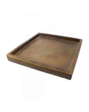 Prato Quadrado para Vaso Composto de Mineral, cor Amadeirado 50,5x50,5x4cm