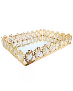 Bandeja  Retangular Dourada Cristal K9 58x38x9cm