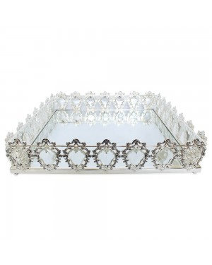 Bandeja Quadrada Prata Cristal K9 45x10cm - 725