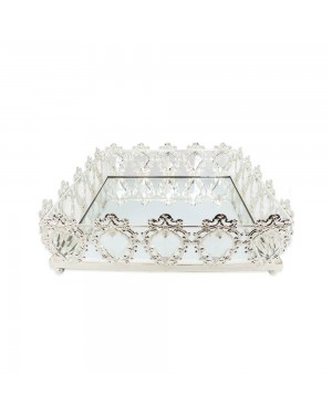 Bandeja Quadrada Prata Cristal K9 33x10cm - 727