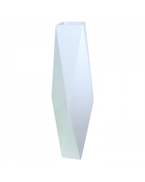 Vaso Decorativo Resina Branco Angular 25x129cm - 783