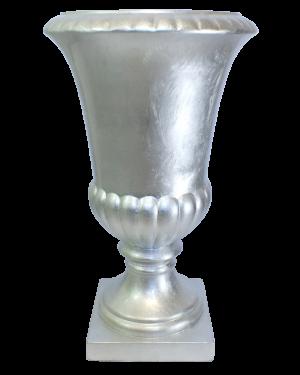 Vaso Decorativo Resina Cor Silver Anfora 36x61,5cm