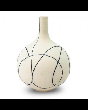 Vaso Decorativo Cerâmica Bege 21X17cm
