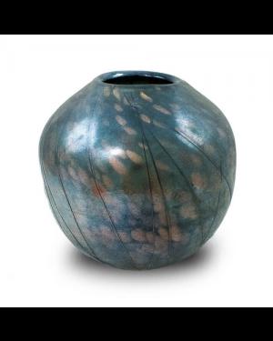 Vaso Decorativo Nakine Vidro Jateado Prateado 23X24X24