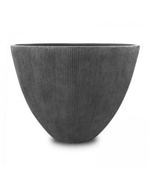 Vaso Decorativo Nakine de Composto Mineral Cinza Oval 33x28x18cm