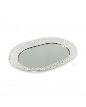 Bandeja Nakine Oval Banhado em Prata e Cristal 49x36x5cm