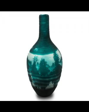 Vaso Decorativo Vidro Floresta Verde 48X20cm