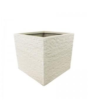 Vaso Decorativo Nakine de Composto Mineral Branco Quad. 45x50x50cm