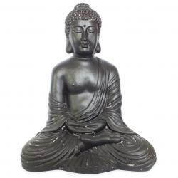 Estatueta Decorativa Sidarta Gautama na Cor Chocolate Opaco em Composto Mineral  48x35,2x64cm
