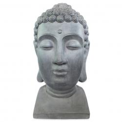 Estatueta Decorativa Cabeça Buda Composto De Mineral,cor, Chumbo 37x34,5x60,5cm