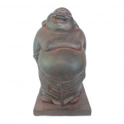 Estatueta Decorativa Buda Hotei San Na Cor Marrom Opaco Em Composto Mineral 26X24X44cm