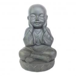 Estatueta Decorativa Buda Bebe Na Cor Cinza Opaco Em Composto Mineral 21x18x35cm