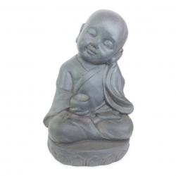 Estatueta Decorativa Buda Bebe Na Cor Cinza Opaco Em Composto Mineral 22x18x35cm