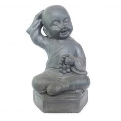 Estatueta Decorativa Buda Bebe Na Cor Cinza Opaco Em Composto Mineral 24x17x35cm