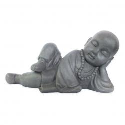 Estatueta Decorativa Buda Bebe Na Cor Cinza Opaco Em Composto Mineral 40x17x21cm